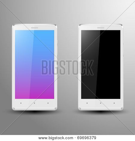 Realistic illustration of a white smartphone with editable screen