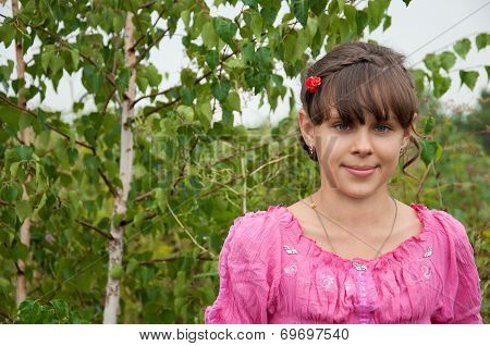 The  Russian Girl Stands Near The Birch