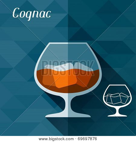 Illustration with glass of cognac in flat design style.