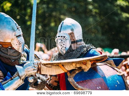 Knights In A Fight With Swords