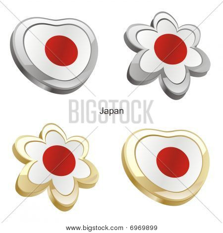 japan flag in heart and flower shape