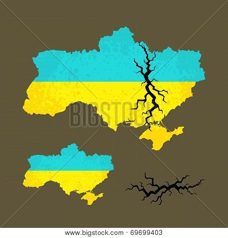 Map Of Ukraine With Crack