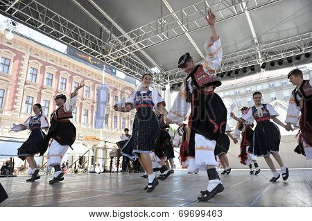 ZAGREB, CROATIA - JULY 17: Members of folk group Detva from Slovakia during the 48th International Folklore Festival in center of Zagreb,Croatia on July 17, 2014