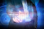 stock photo of troll  - Doctor presenting the word troll against futuristic shiny blue design - JPG