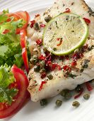 stock photo of dory  - Grilled white fish fillet with a salad - JPG