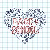stock photo of drow  - Back to School Supplies Sketchy Notebook Doodles with Lettering and Swirls - JPG