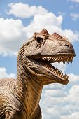 picture of godzilla  - Head of a dinosaur isolated against a blue sky - JPG