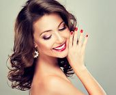 foto of long nails  - Beautiful model with long curly hair  - JPG