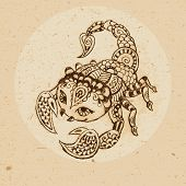 stock photo of scorpio  - Hand drawn scorpion with elements of the ornament in ethnic style - JPG