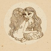 picture of gemini  - Hand drawn twins ornament with elements in the ethnic style - JPG