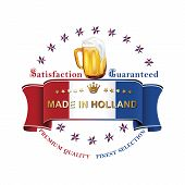 picture of holland flag  - Vector beer label  - JPG