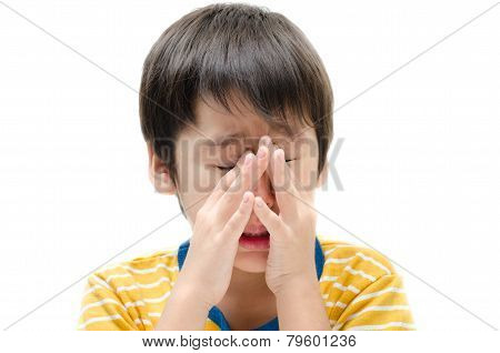 Little Boy Crying Ichy His Eyes On White Background