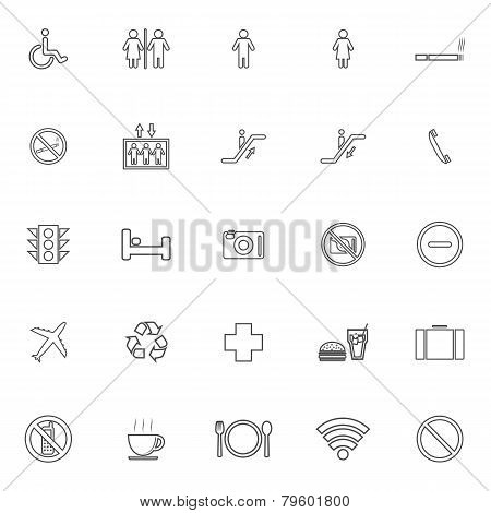 Public Line Icons On White Background