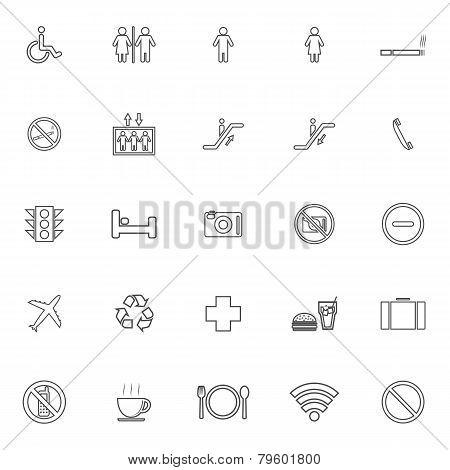 Public Line Icons On White Background