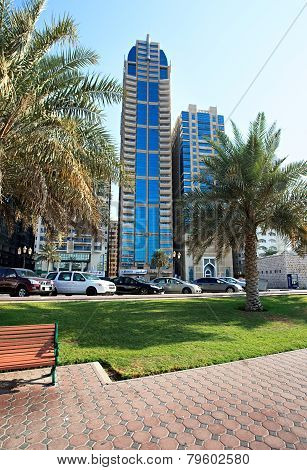 Modern skyscrapers in Sharjah.
