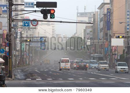 Volcanic ash from Mt Sakurajima blankets streets in Kagoshima, Japan