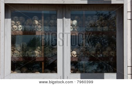 The skulls of torture victims at the Killing Fields, Cambodia.