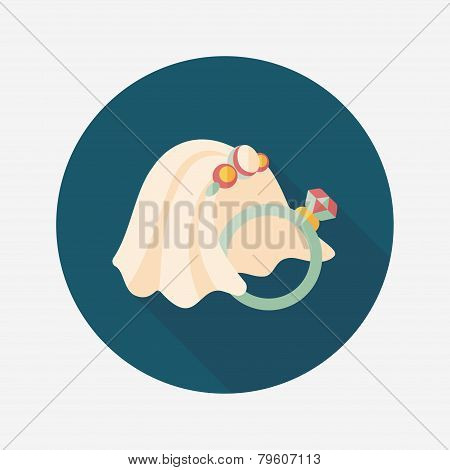 Bride Veil And Diamond Ring Flat Icon With Long Shadow,eps10