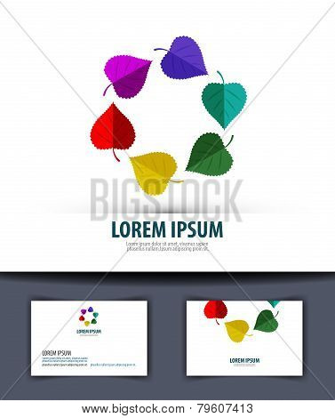Colored leaves in a circle. Logo, icon, emblem, template, business card