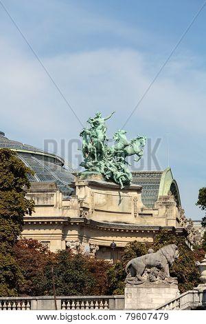 Architectural details of Grand Palais des Champs-Elysees in Paris France