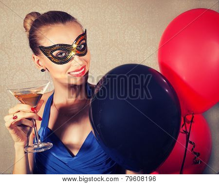 Woman In Carnival Mask Smiling.