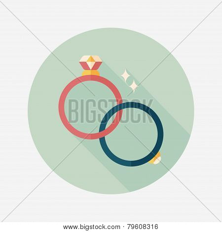 Propose Couple Diamond Ring Flat Icon With Long Shadow,eps10