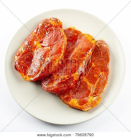 Pork Neck Slices On A Plate