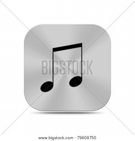 Metal Musical Note On Button Icon Texture