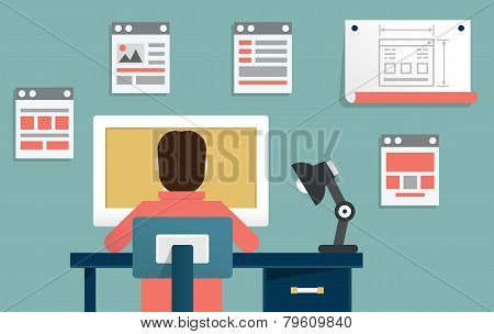 Vector Flat Illustration Of Application Or Website Development. Design And Programming