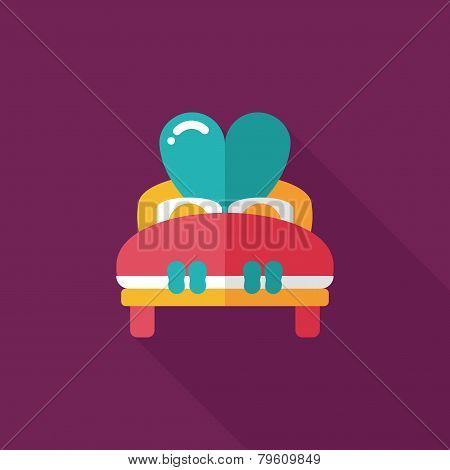 Wedding Couple Bed Flat Icon With Long Shadow,eps10