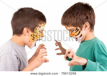 Boys With Face Painted