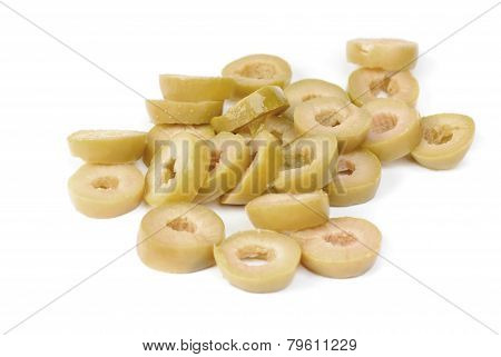Sliced Green Olives  Isolated On The White Background