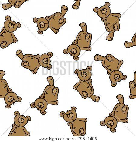 bear toy seamless pattern on white