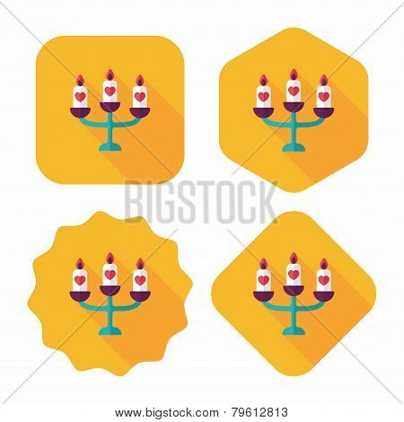 Wedding Candle Holder Flat Icon With Long Shadow,eps10