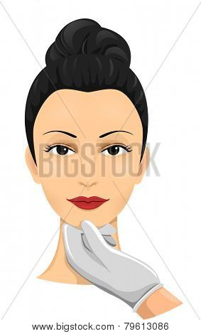 Illustration of a Woman Undergoing a Cosmetic Surgery Assessment