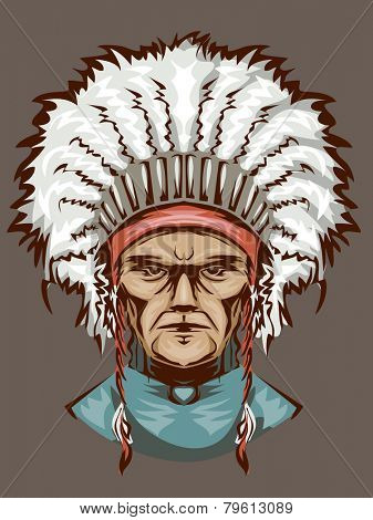 Illustration of an Indian Man Wearing an Elaborate Headdress