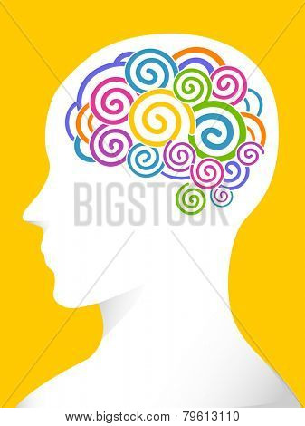 Side View Illustration of a Man With Swirls of Various Colors in His Brain
