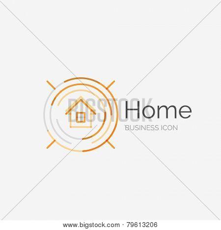 Thin line neat design logo, clean modern concept, home, house idea