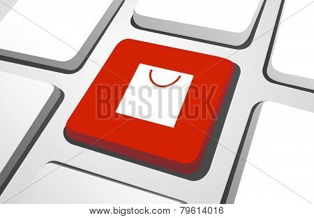 Computer Key : Shopping Bag Vector
