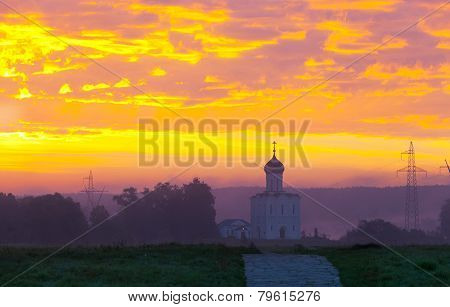 Beautiful dawn over Church of the Intercession of the Holy Virgin on the Nerl River