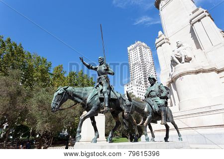 Madrid. Monument to Cervantes Don Quixote and Sancho Panza.