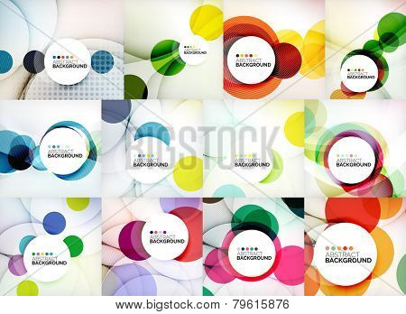 Set of circle abstract backgrounds. Colorful circles modern abstract composition with shadows and text. Geometric background