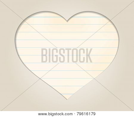 romantic background with heart and paper