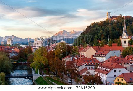Sunset in Ljubljana, capital of Slovenia