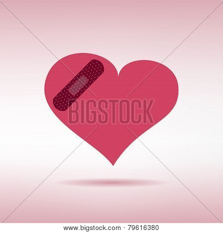 Plaster patched heart icon. Love wound concept. Vector illustration
