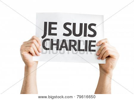 I am Charlie (In French) card isolated on white background