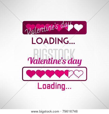 Valentine's day backgeound. Progress bar with hearts. Vector illustration