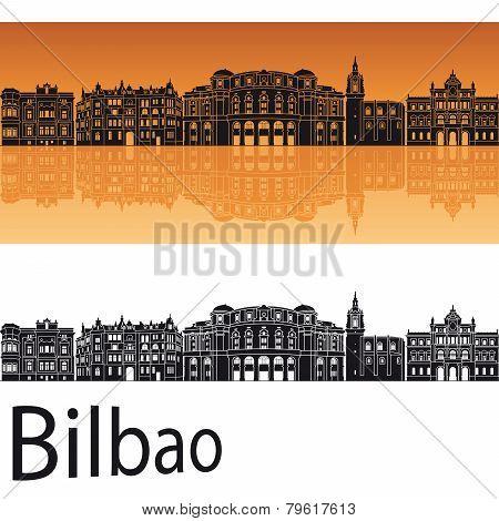 Bilbao Skyline In Orange Background