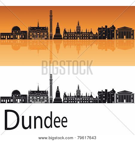 Dundee Skyline In Orange Background
