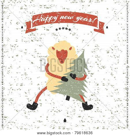 New Year And Christmas Print. Funny Sheep.